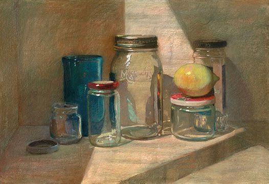 "Sally Strand Lemon with Jars Pastel and Mixed Media 15 x 22"""