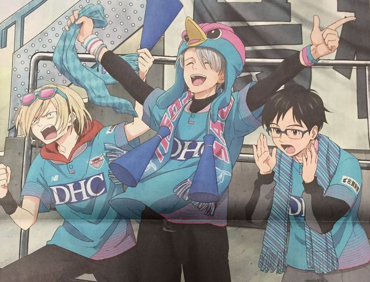 Victor, Yuuri and Yurio supporting the soccer team Sagan Tosu from the first episode. I love them !! source ; https://twitter.com/domesoccer/status/834229204380119040