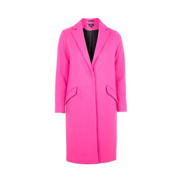Topshop Petite Fluro Crombie Coat ($120) ❤ liked on Polyvore featuring outerwear, coats, pink, pink wool coat, petite coats, topshop coat, pink coat and woolen coat