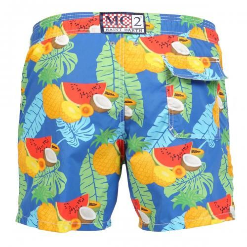 NYLON LONG SWIM SHORTS WITH FRUITS PATTERN Nylon long Swim Shorts with exotic fruits print. Two front pockets and back Velcro pocket. Internal net. Elastic waistband with adjustable drawstring. COMPOSITION: 100% NYLON. Model wears size M, he is 189 cm tall and weighs 86 Kg.
