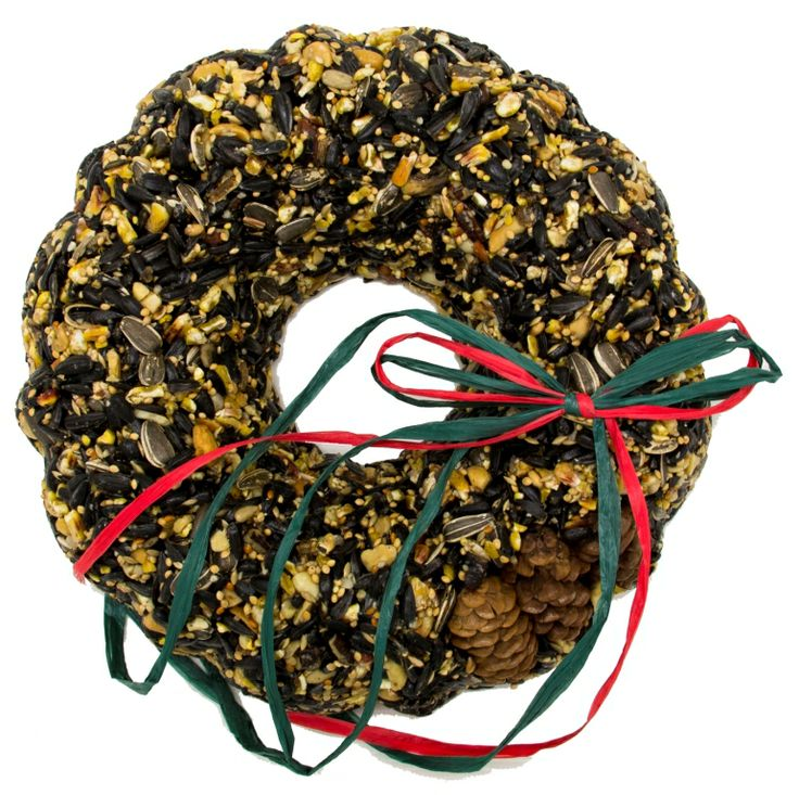"""WRTHS Festive Seed Wreath. This piece contains a wide variety of high kernel content sunflowers, unsalted roasted peanuts, locally grown millet, and steel cut corn. 9"""" x 1 1/2"""""""