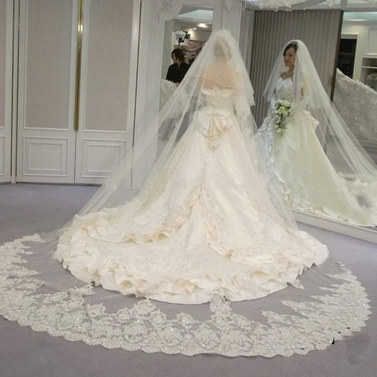 White-Ivory-Sequins-Blings-Sparkling-Lace-Edge-Purfle-Long-Cathedral