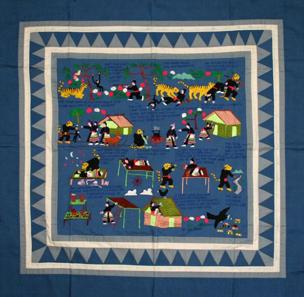 Hmong Embroidery - This folktale tapestry was illustrated by Ge Yang, then embroidered with straight, darning, and outline stitches, and appliqué mountain motif frames.