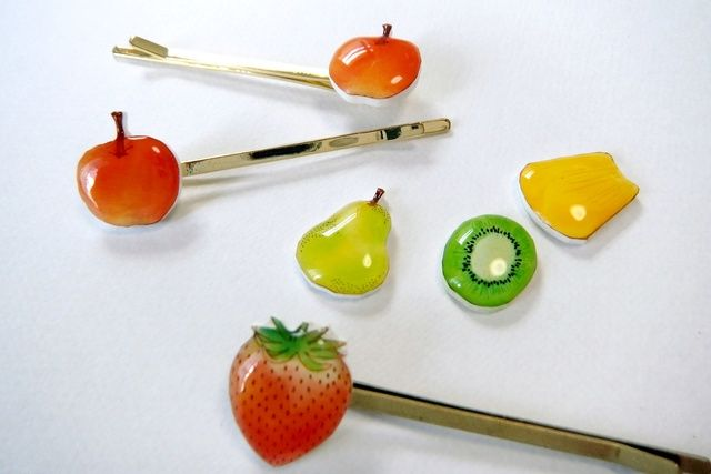 ビタミンたっぷり*果物のヘアピン