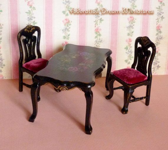 Dollhouse furniture set two chair and hand-painted table 1:12 scale, painted miniature furniture 12th, dollhouse table and chair, ooak set