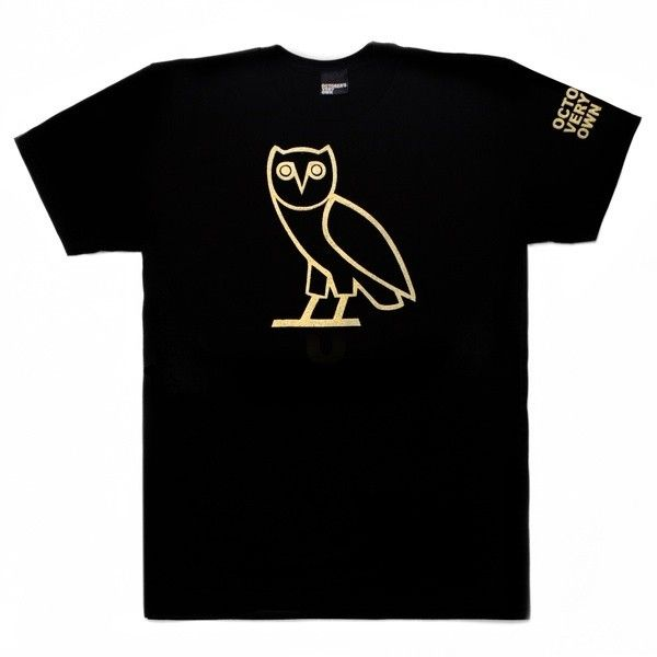 OVO Owl Shortsleeve T-Shirt October's Very Own found on Polyvore featuring polyvore, women's fashion, clothing, tops, t-shirts, shirts, black shirts, short sleeve tee, tee-shirt and shirt tops
