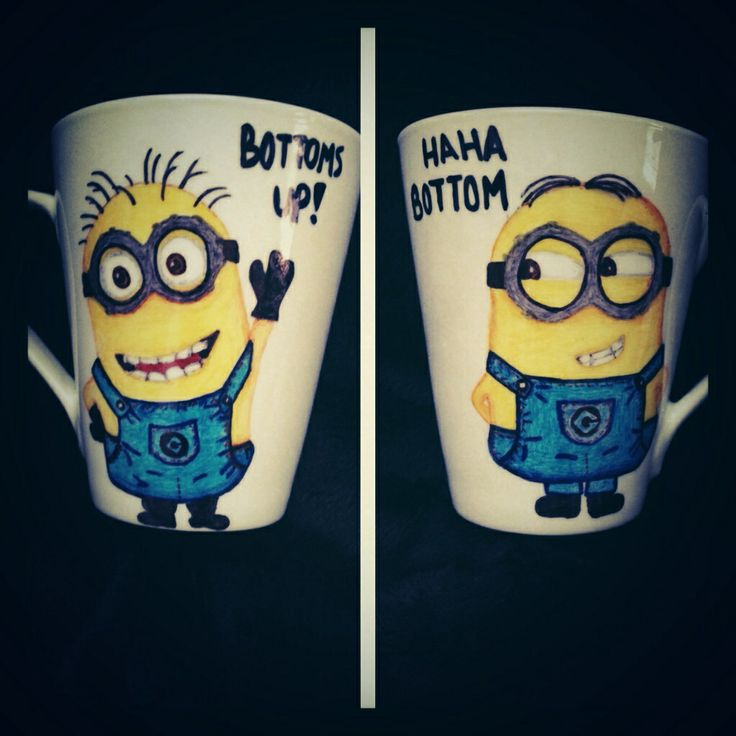Front and back of my take on a minion mug.  Check it out on my shop creativefoxx.etsy.com