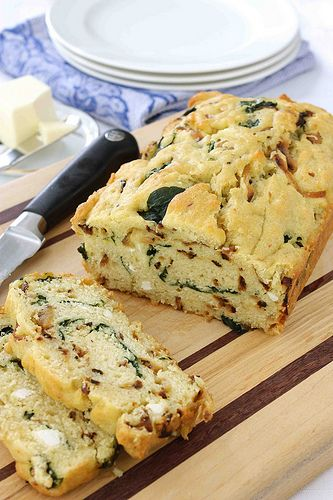 Carmelized onion and spinach olive oil quick bread