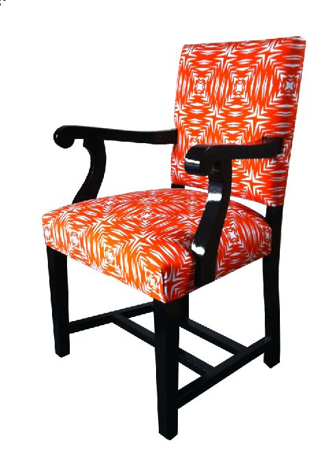 Mitta Mitta - Chair This chair is one of a pair, they were covered in 1930s vinyl and were at the farm for years. They were the first chairs I covered in my fabric, it was a real WOW when I saw them for the first time!