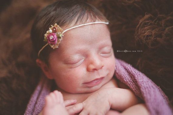 Newborn Tie Back Headband / Photo Prop/ by PetiteBoutiqueNJ
