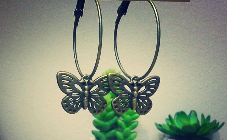 butterfly brass earrings - 135243