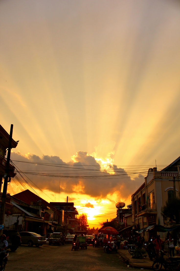 Amazing sunset in Battambang Cambodia... a little town between the capital - Phnom Penh and Siem Reap.