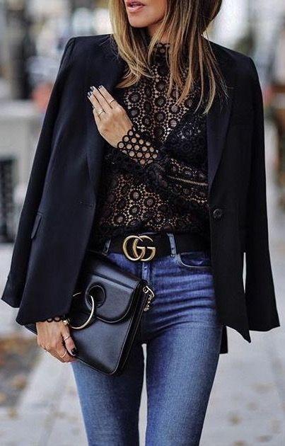Lace blouse // blazer // Gucci belt // jeans 13