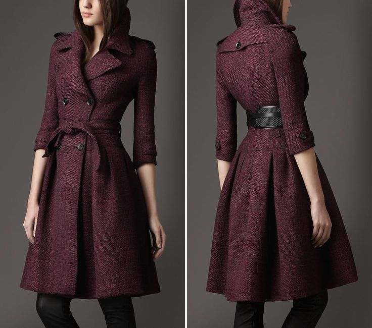 Full Skirted Plum Tweed Coat by Burberry