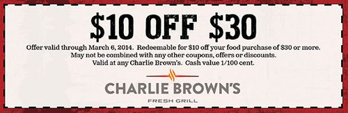 Charlie brown steakhouse coupons discounts
