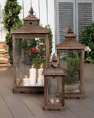 Set 3 lanterne antique wood - cm.35x35xh.80 (56.2322)