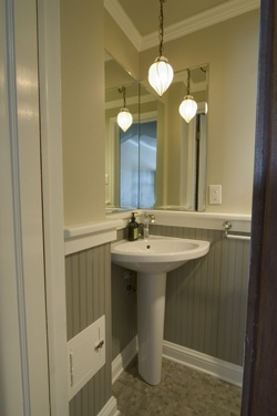Awesome Corner Vessel Sink W/ Paint (BM Central Park) U0026 Mirror On One Wall | Agu0027inn  Place   Office Bathroom | Pinterest | Small Powder Rooms, Corner Sink And  Powder ...
