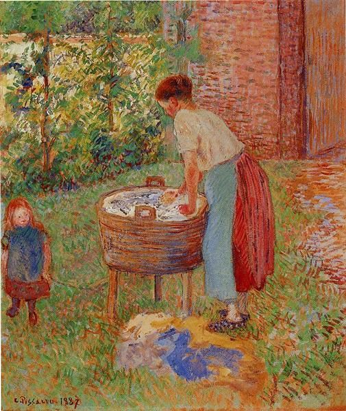 Washerwoman, Eragny, 1887 - Camille Pissarro - WikiArt.org