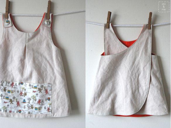 Roly Poly Pinafore made by You & Mie. Pattern by Imagine Gnats.  Julie L., your little imp would look adorable in this.