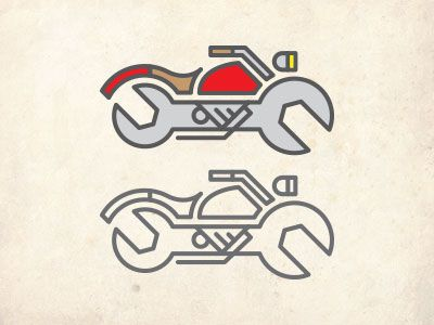 Motorcycle Mechanic Logo Color Study by Clint WalkingStick