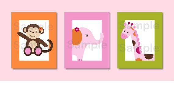 Sweet Safari Girl Jungle Animal Printable by LittlePrintsParties, $8.00