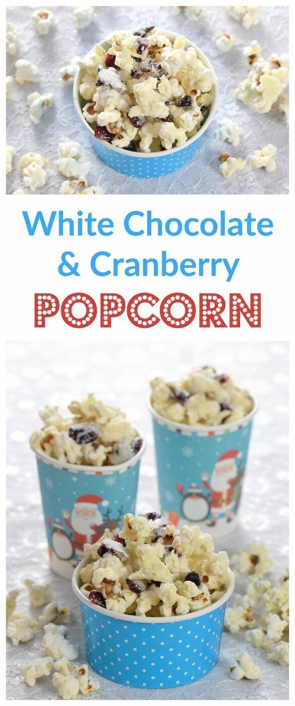 White Chocolate Cranvberry Popcorn Recipe - Easy to make treat that is perfect for a family Christmas movie night - Eats Amazing UK