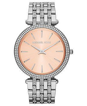 Michael Kors Watch, Women's Darci Glitz Stainless Steel Bracelet 39mm MK3218 - All Watches - Jewelry & Watches - Macy's