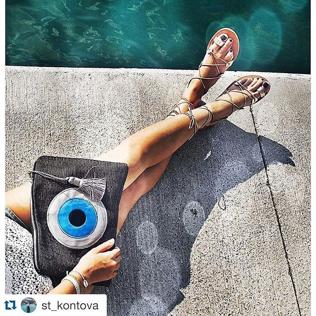 Summer afternoons with a handmade clutch bag Christina Malle #evileyeproject Thank you @st_kontova !  #mataki #IKeepMyEyeOnYou #christinamalle_bags ✨✨. #ss2015#collection#fashion#clutches#hanbag#bag#summer#handmade#christinamalle_bags#Greece#madeingreece#greekdesigners#accessories#summeringreece#summeringreece#thessaloniki#instalike#vsco