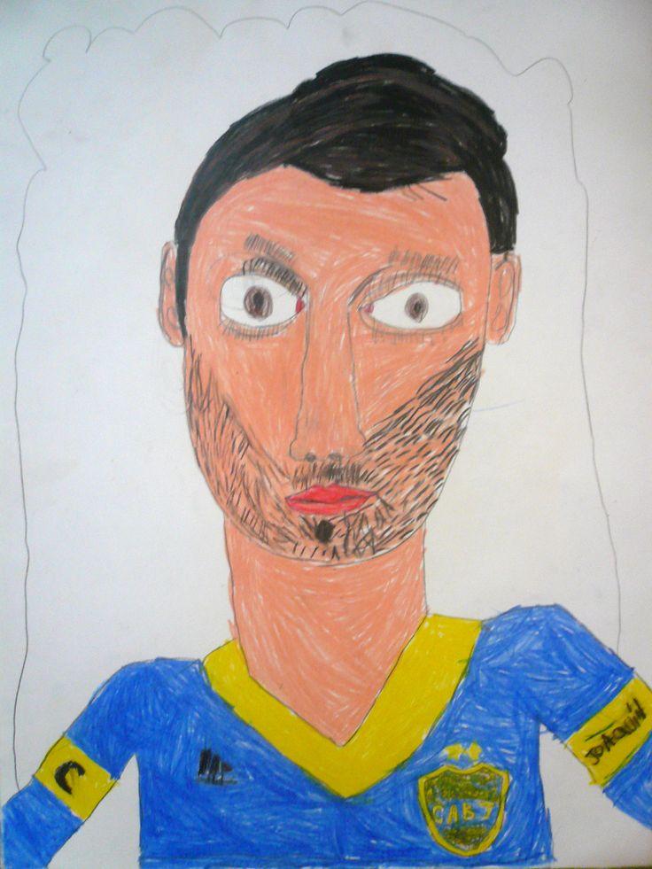 """""""El jugador"""". Dibujo con lápices. Joaquín C."""