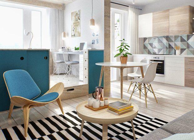 Stylowe małe mieszkanie - salon.