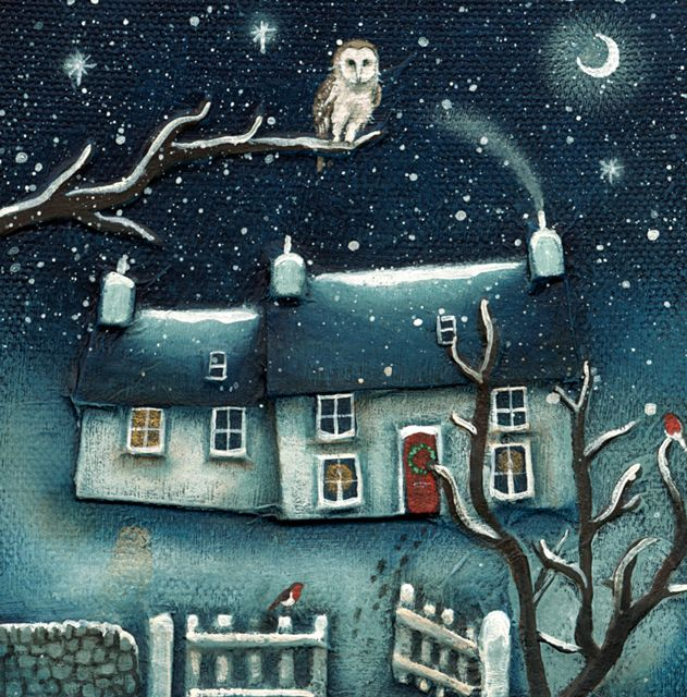 'The Owl And The Open Gate' By Painter Therese Urbanska. Blank Art Cards By Green Pebble. www.greenpebble.co.uk
