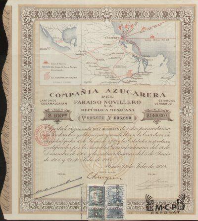 Muzeum cennych papiru E0975 Compaňia Azucarera del Paraiso Novillero S. A. 100 Pesos México  22.7.1924 / AZP3MEX004