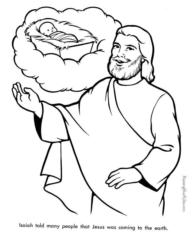 Isaiah 7:14 ; 9:1-7; Isaiah told many people that Jesus was coming to earth - Bible coloring page to print free