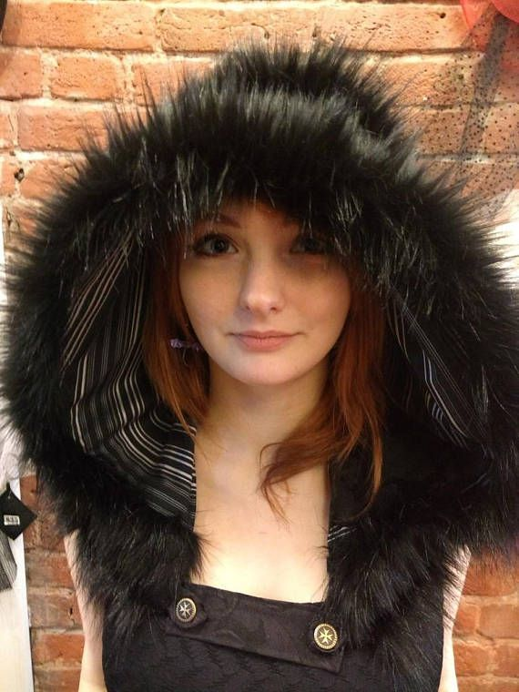 Festival Hood and Cowl - Grey Wool, Pinstripe and Black Faux Fur