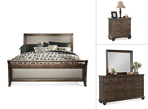 The Kasari 4-piece king bedroom set with 9-drawer dresser has a sophisticated yet casual European cottage farmhouse design. Inspired by late 19th and early 20th century European antiques, this bedroom set's design includes timeless traditional elements. Constructed of poplar solids with cathedral oak veneers, this piece has an aged appearance. Plus, the king sleigh bed has soft gray linen-blend upholstery on both the headboard and footboard.