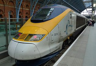 Eurostar train from Paris to London.. great way to travel