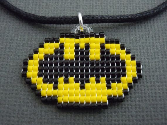 Handmade Seed Bead Pixelated Batman Symbol Necklace by Pixelosis, $15.00