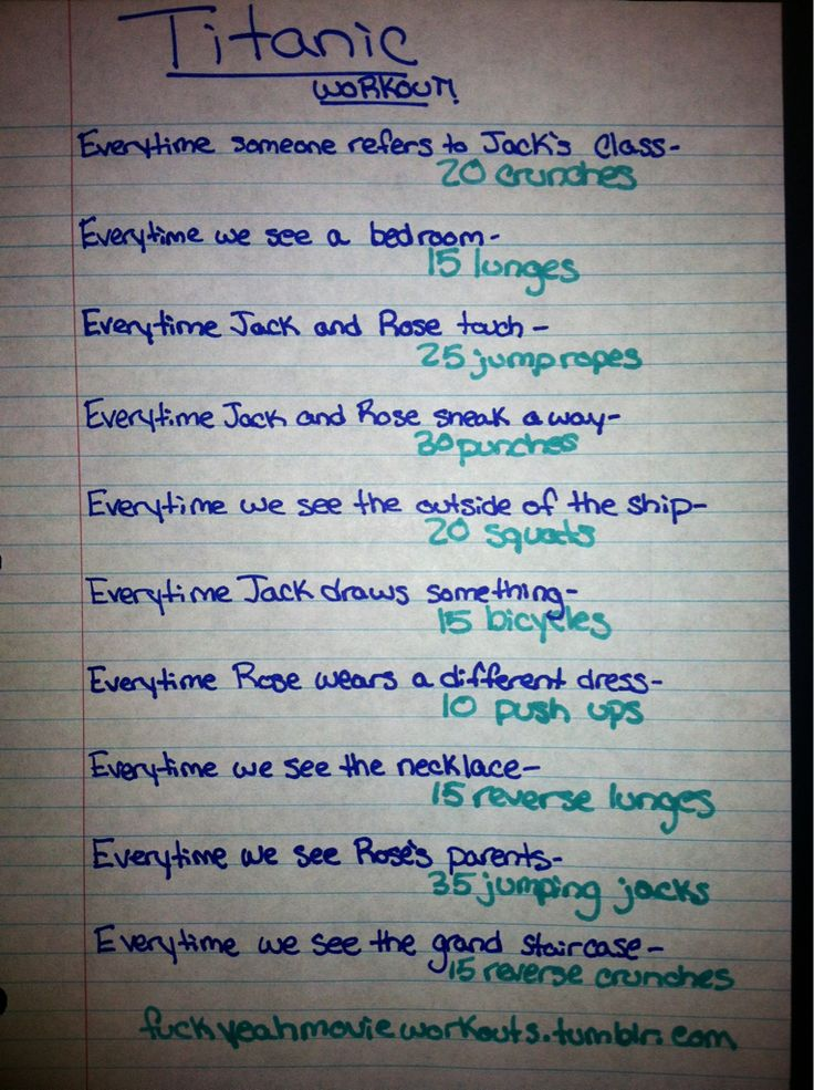 Titanic movie workout!  Want to see more workouts like this one? Follow us here.