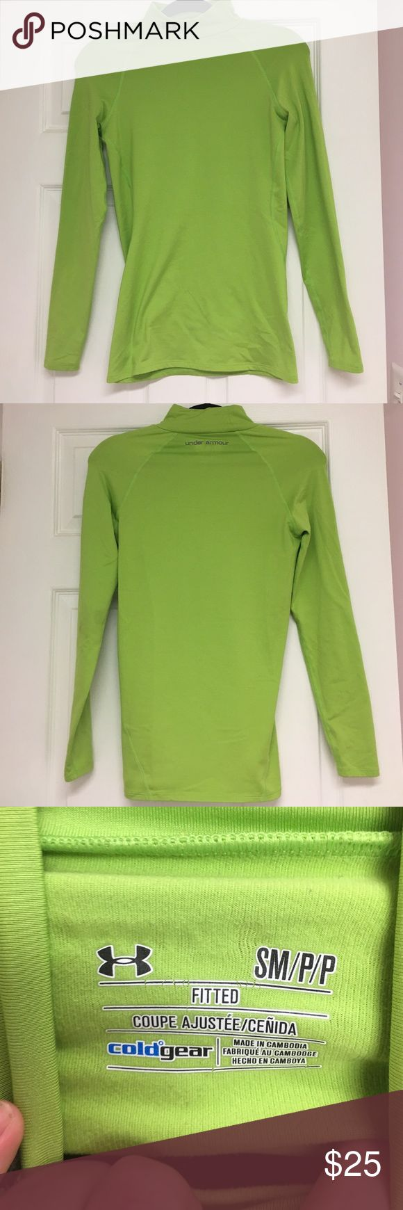 Under Armour Cold Gear Green long sleeved top- SM This Under Armour Cold Gear Lime Green long sleeved top (size small) is perfect for those chilly days! This is in excellent condition! With the neck and the fitted nature of this top, it will keep you warm and also look super cute! Under Armour Tops