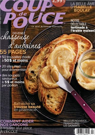 En couverture de notre magazine d'avril 2012: Notre tartinade à l'érable.