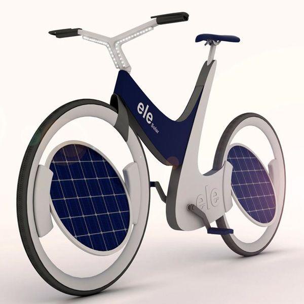 """E-Bike fahren nur durch Sonnenstrahlen soll das """"Ele"""" ermöglichen. Solarzellen in den Rädern liefern dafür die Energie.Das Ele will ein fast normales E-Bike sein und lässt sich in drei Modi betreiben: nur per Muskelkraft, im Hybridmodus mit etwas Elektrounterstützung oder rein elektrisch. Ansonsten ist es sehr ungewöhnlich, denn die Solarpanele – in den Räder untergebracht"""