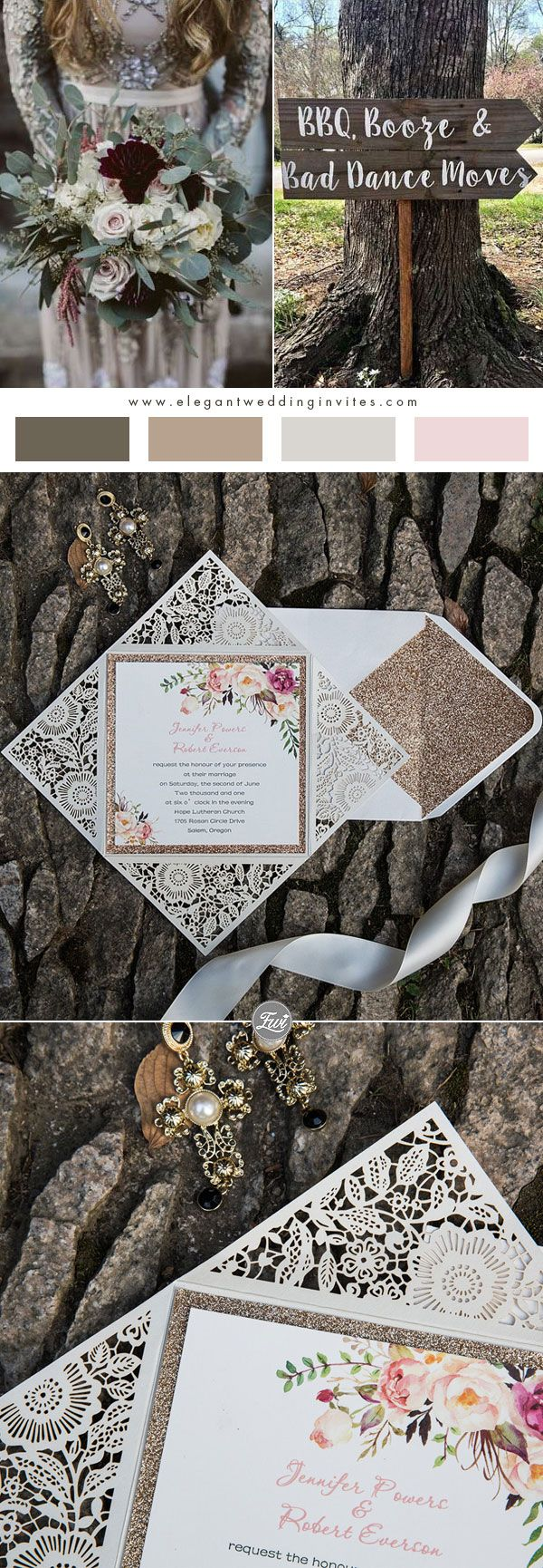 how to get directions for wedding invitations%0A Rustic Floral Rose Gold Glitter Laser Cut Wedding Invitations EWWS      rusticwedding  weddinginvitations  glitterweddinginvitations