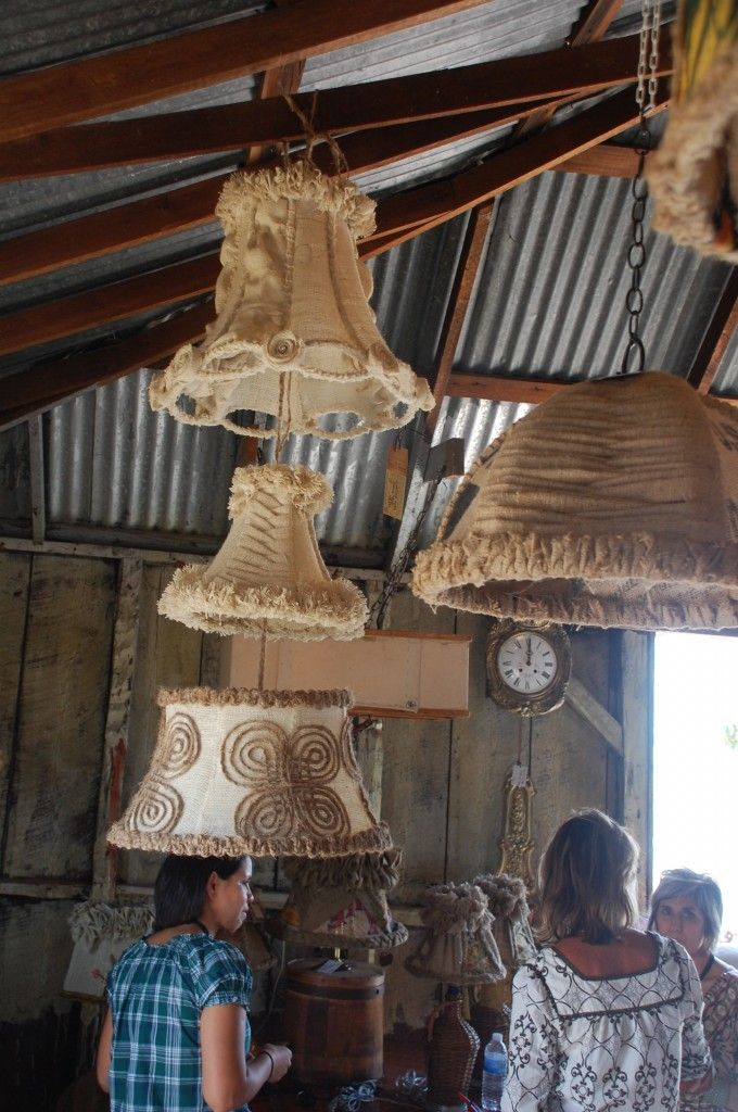 burlap lampshades by Lorraine White #roundtop