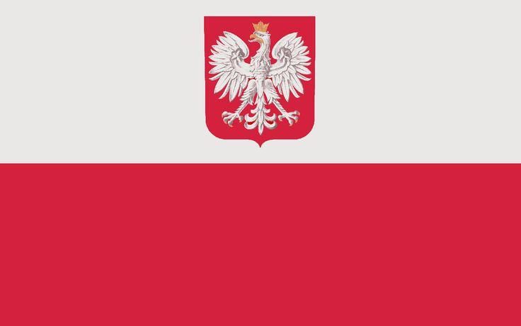 Flaga z godłem współczesna