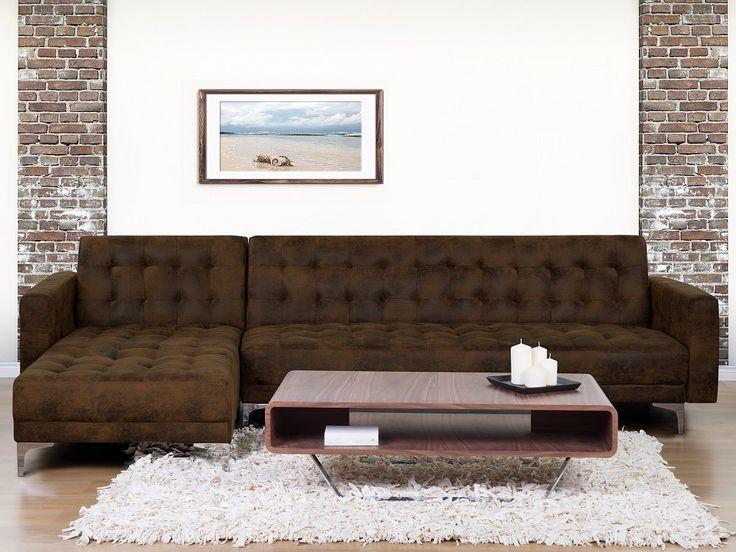 Leather Sofas Corner Sleeper Sofa Upholstered ABERDEEN Brown