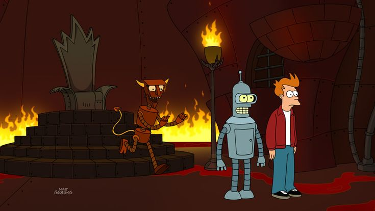 """comedycentral:  Countdown to Futurama: Fry and Bender in Robot Hell with Robot Devil How far would you go to bring your favorite actor back from the dead? In this still image from the upcoming Futurama episode, """"Calculon 2.0,"""" Bender and Fry travel all the way to Robot Hell to ask Robot Devil to release Calculon. Sounds robot awesome! Futurama returns June 19 at 10/9c.  Good news, everyone! The bad news is that this will be the last season :("""