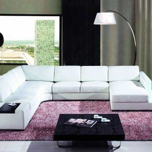 T35 White Bonded Leather Sectional Sofa