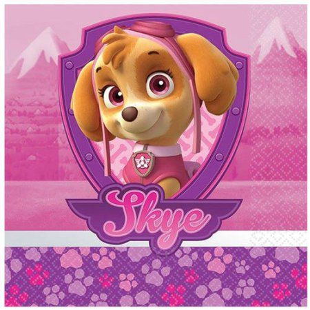 Pink Paw Patrol Girl Beverage Napkins, 16pk, Multicolor