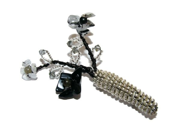 Gemstone & Crystal Sculpted Flower Vase Brooch £14.99