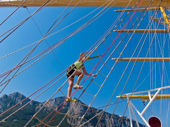 Climbing the rigging, Royal Clipper.